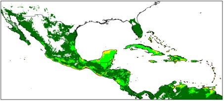 Figure 1. Distribution and climate model of perennial forms of G. hirsutum in Mesoamerica and the Caribbean (global sample). Climate suitability is indicated by background color from unfavorable (no color) to marginal (dark green) or increasingly favorable (light green and warmer colors).