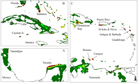 Figure 2. Climate model for truly wild cotton (TWC) distribution. Climate suitability as in Fig.1. A. Gulf of Mexico. B. Florida and western Greater Antilles. C. Venezuela and eastern Caribbean.